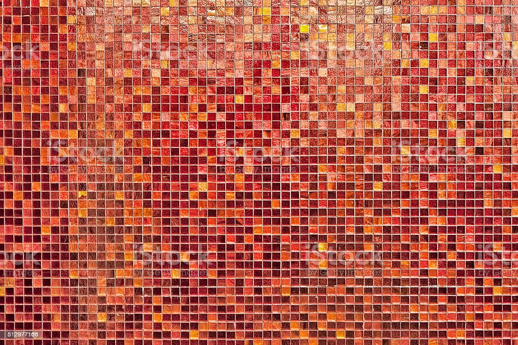 Mosaic tiles in shades of red stock photo
