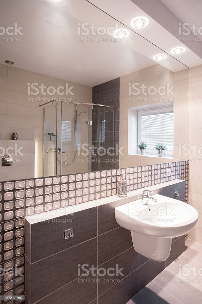 Mosaic tiles in stylish bathroom stock photo