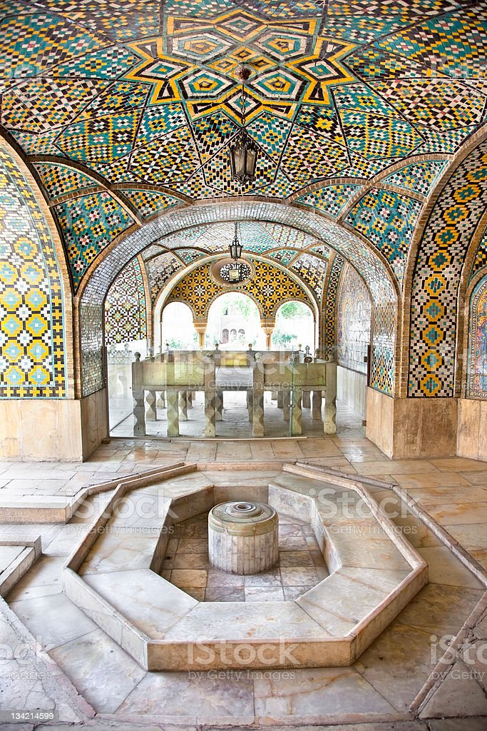 Mosaic wall and marble fountain of Golestan palace, Tehran royalty-free stock photo