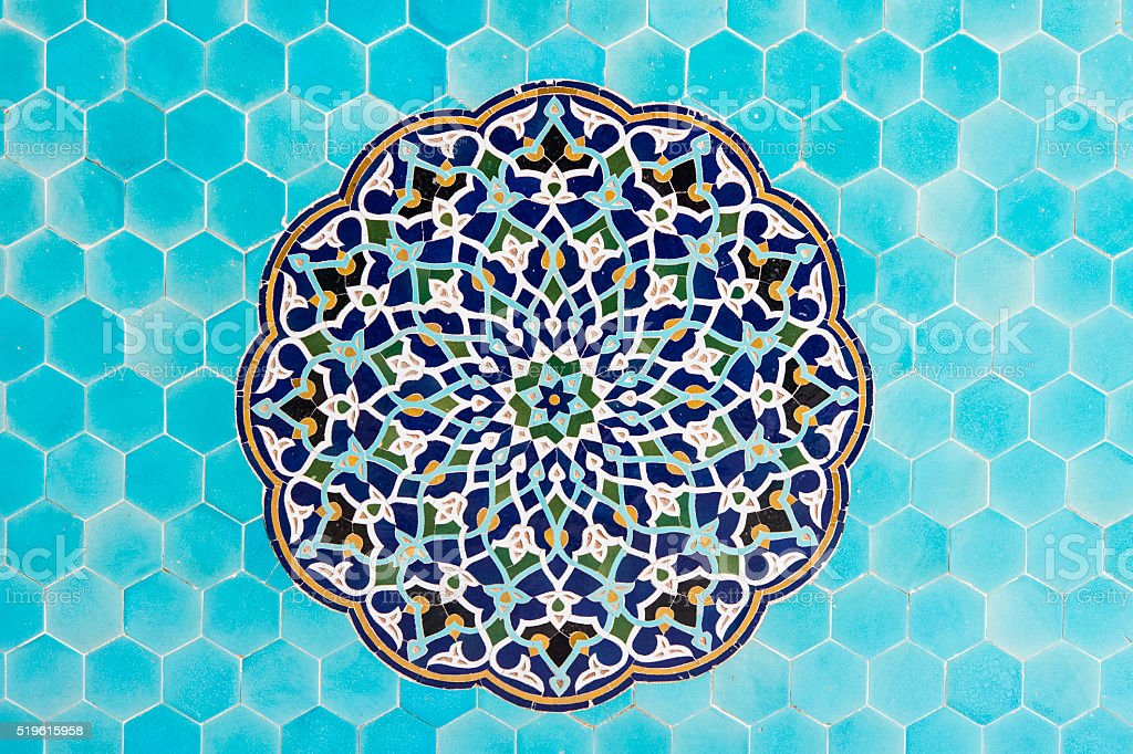 Mosaic wall decoration, Friday Mosque, Yazd, Iran stock photo