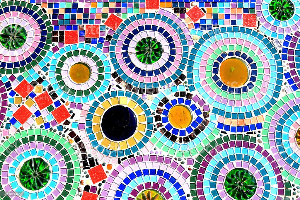 mosaic wall decorative ornament from ceramic broken tile royalty-free stock photo