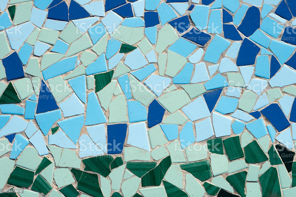 mosaic with blue and turquoise colors at the bottom stock photo