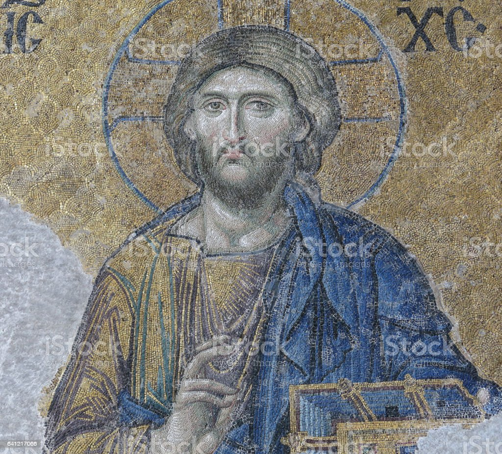 Mosaic with the representation of Christ Pantocrato stock photo