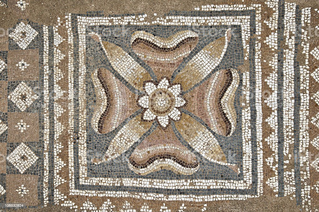 Mosaics at The Great Baths in Dion royalty-free stock photo