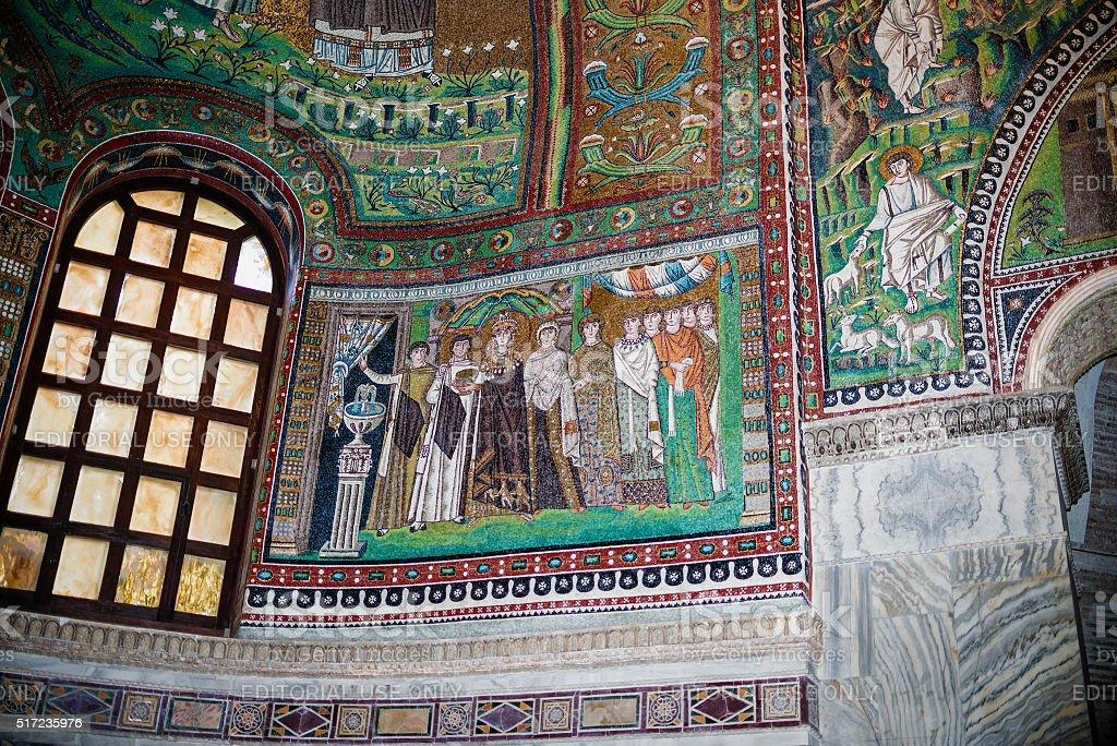 Mosaics from San Vitale, Ravenna stock photo
