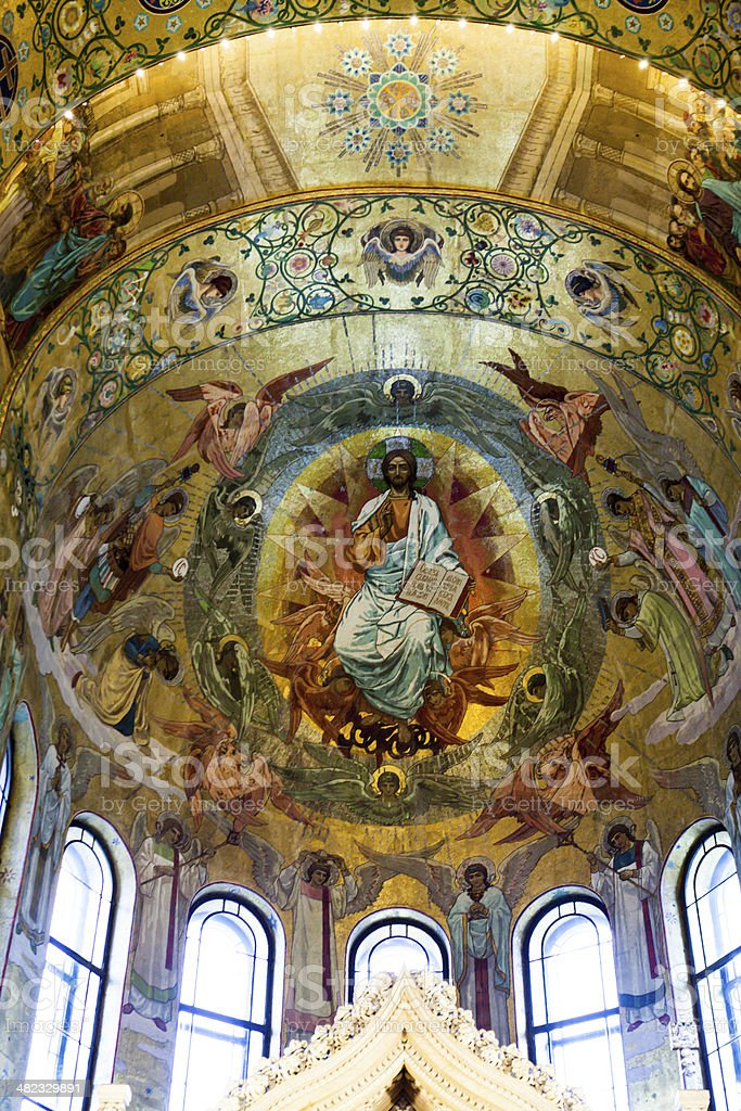 Mosaics interior of Orthodox cathedral in St Petersburg stock photo