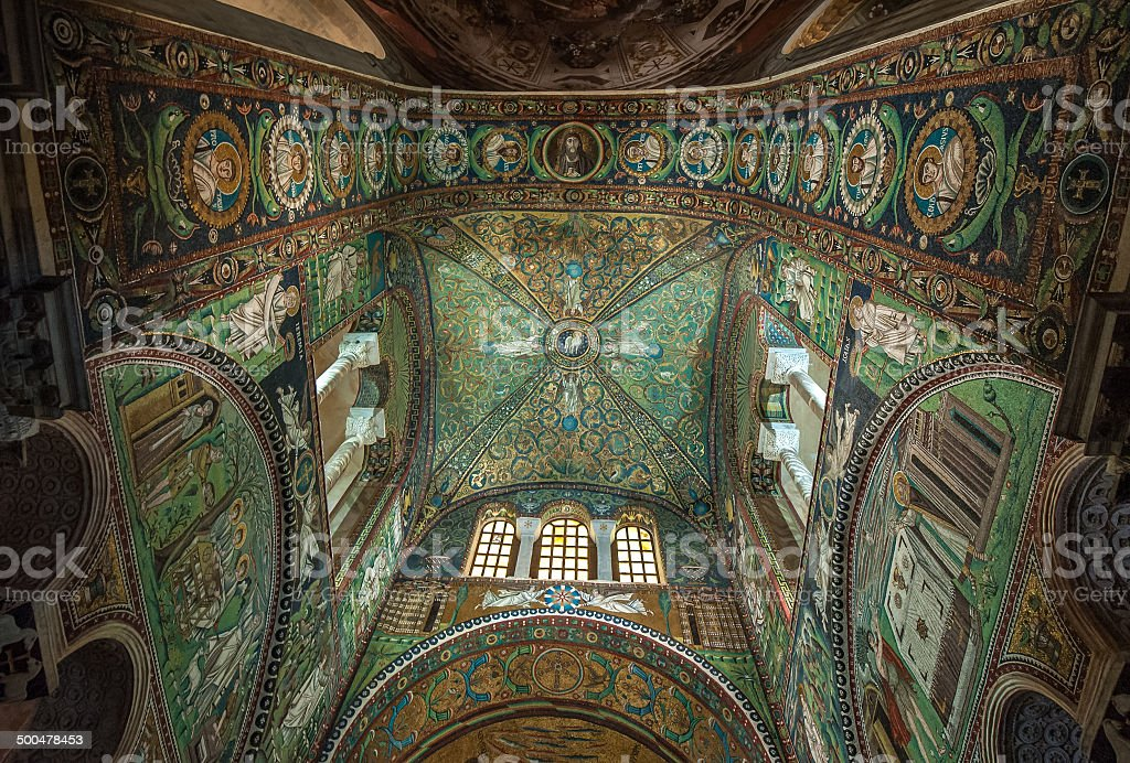 Mosaics of Basilica of San Vitale, Ravenna, Italy stock photo