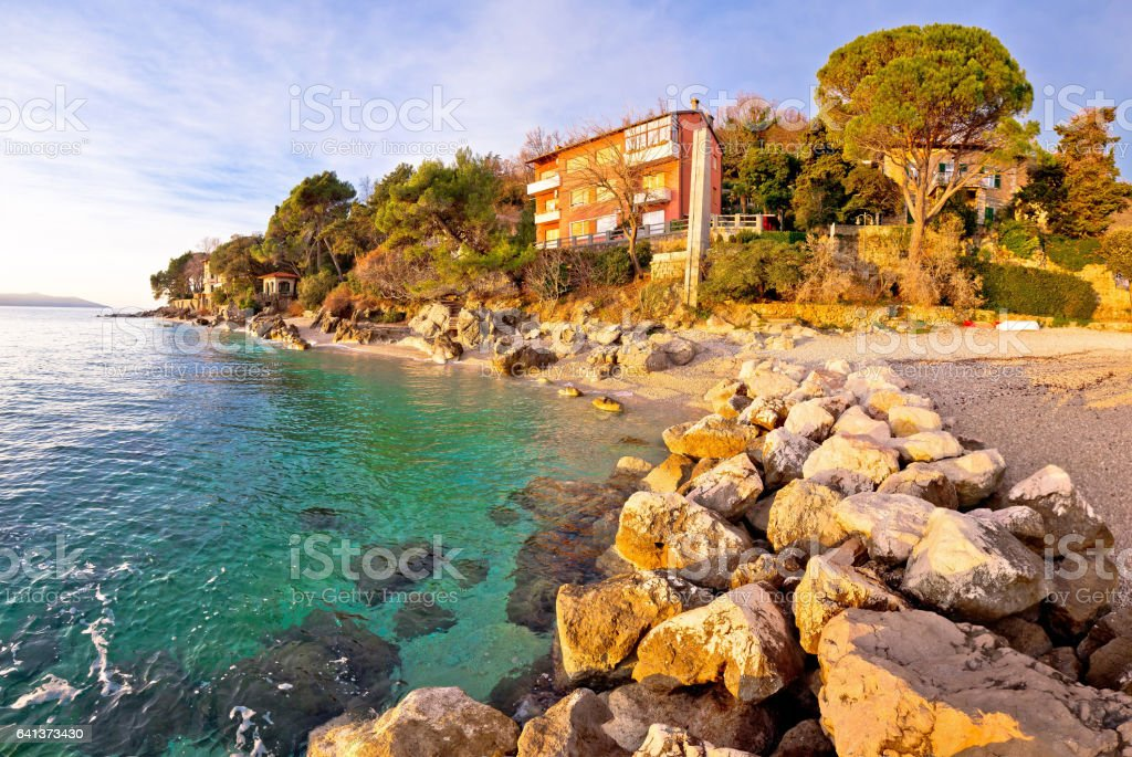 Moscenicka Draga village turquoise beach at sunrise panoramic view, Opatija riviera of Croatia stock photo