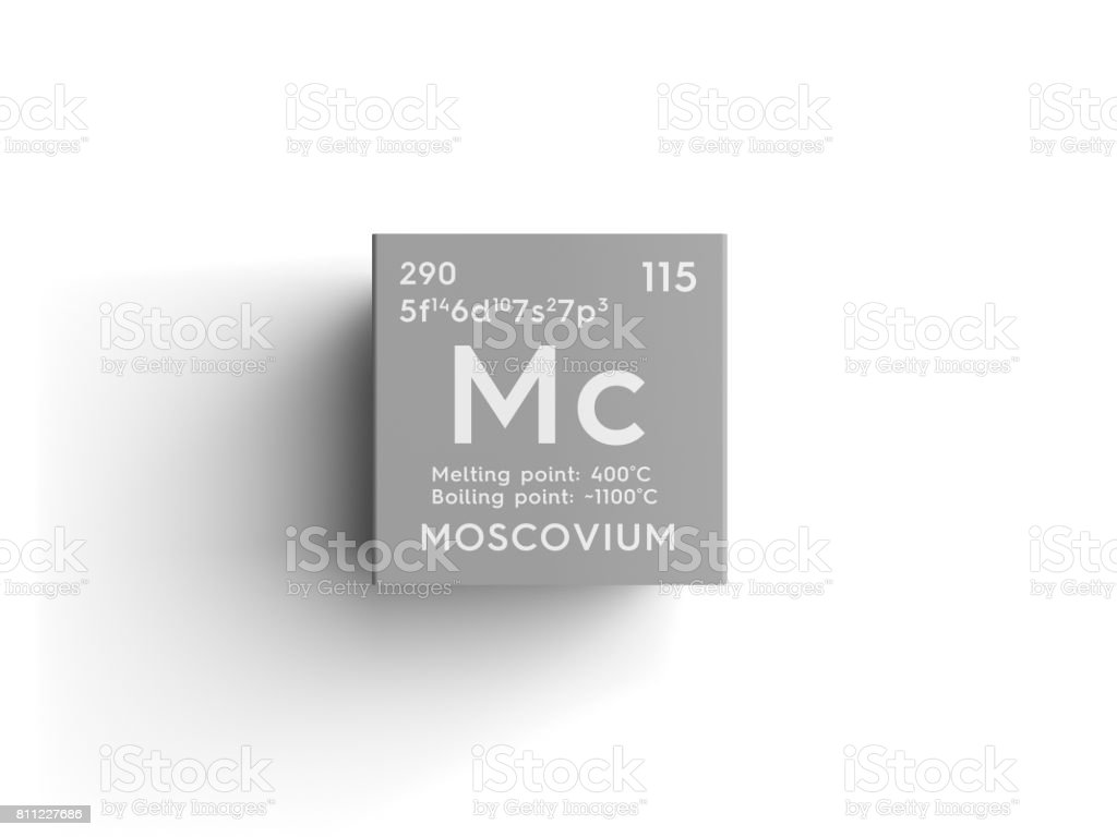Moscovium. Post-transition metals. Chemical Element of Mendeleev's Periodic Table. stock photo