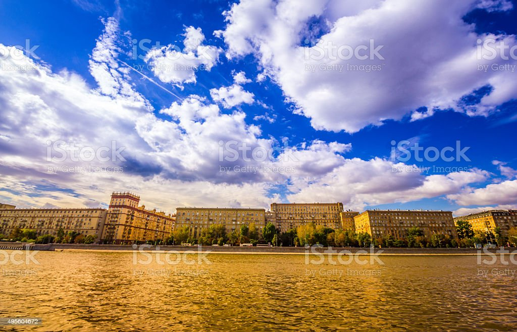 Moscow architecture waterfront stock photo