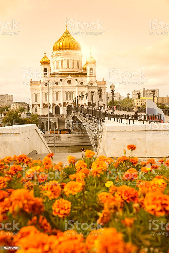 Moscow Cathedral at sunset stock photo