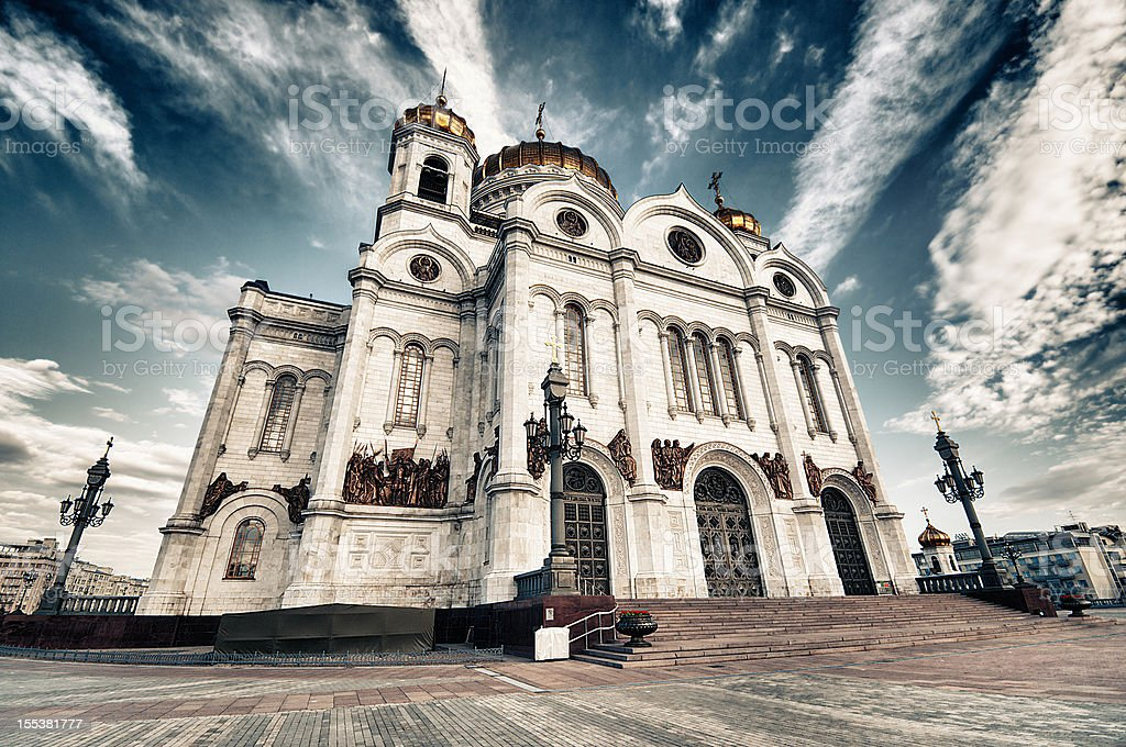 Moscow, Cathedral of Jesus Christ Saviour stock photo