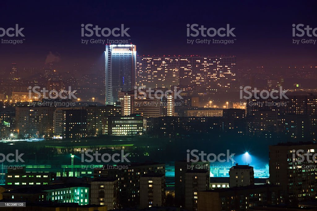 Moscow city at night. Aerial view royalty-free stock photo