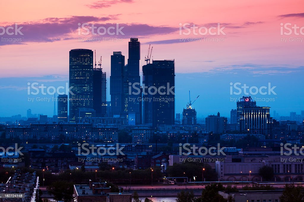 Moscow city complex at sunset stock photo