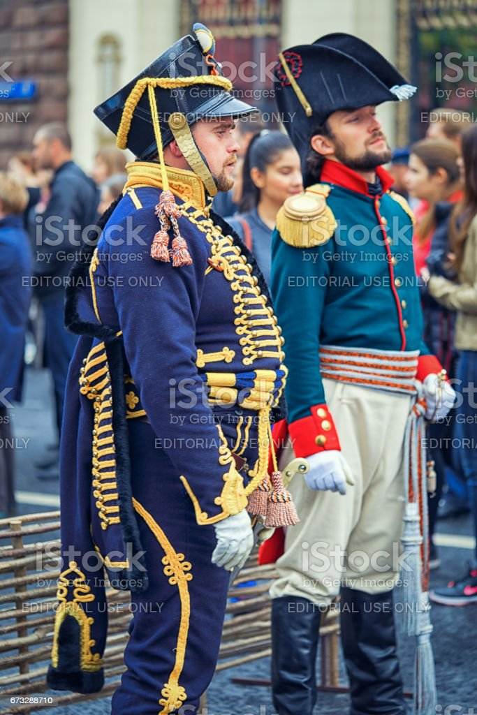 Moscow, Russia - September 11, 2016: Moscow City Day, 869 anniversary of the city. Performance on Tverskaya Street. French soldiers Napoleon era in a uniform in the street. stock photo