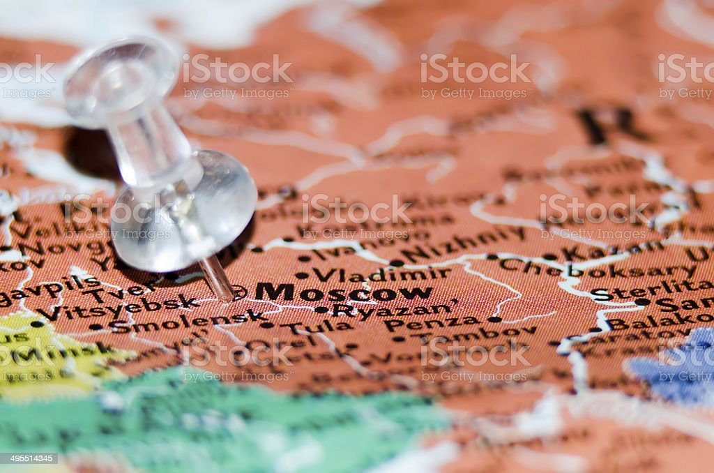 moscow city pin on the map stock photo