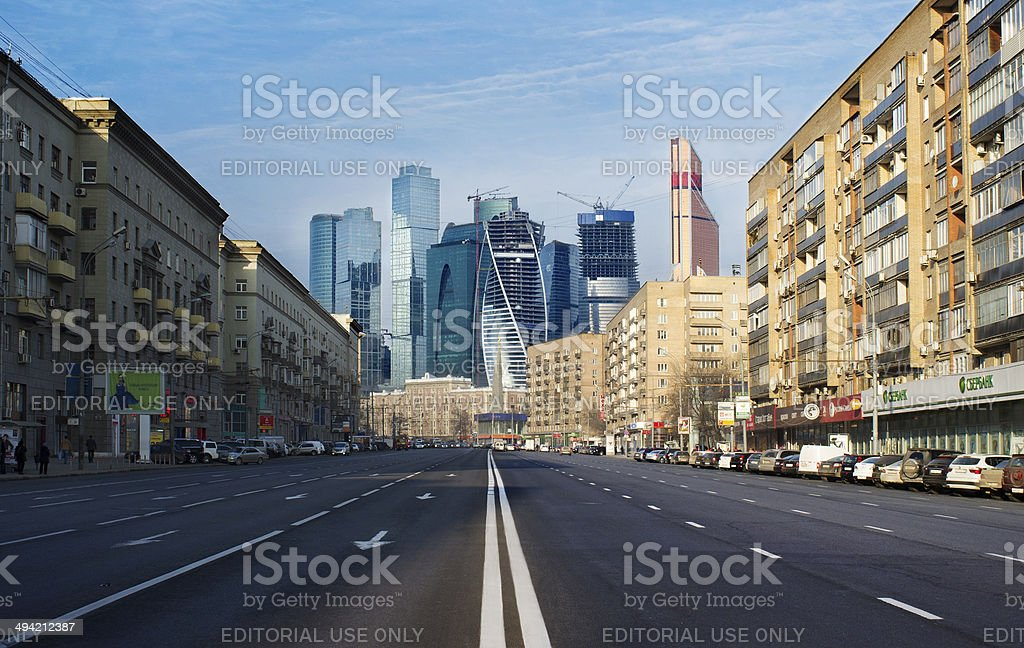 Moscow City seen through Street Canyon stock photo