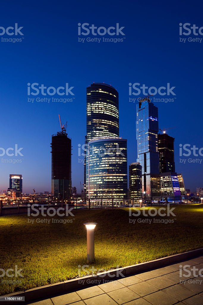 Moscow City skyscrapers at night royalty-free stock photo