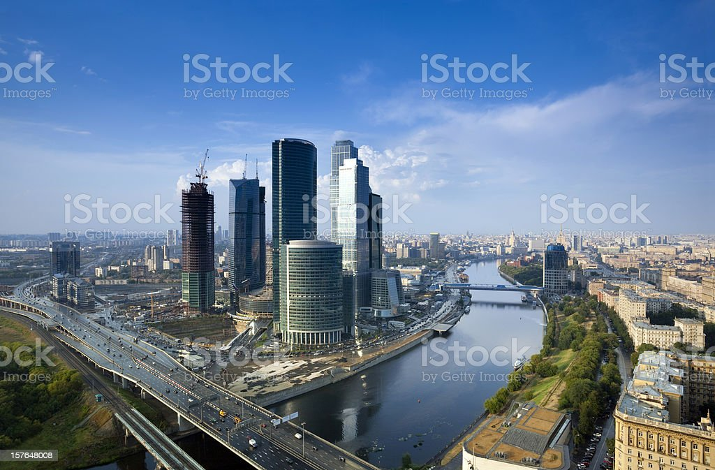 Moscow cityscape after summer rain. Bird's eye view stock photo