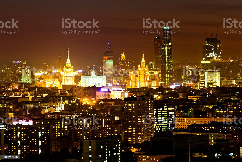 Moscow cityscape at night. Bird's eye view royalty-free stock photo