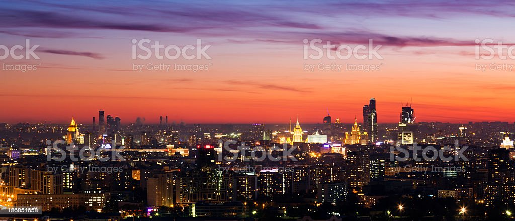 Moscow cityscape at night. Panoramic view royalty-free stock photo