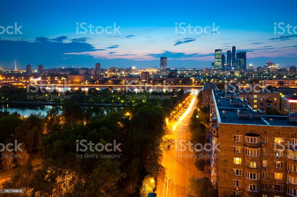 Moscow cityscape at night royalty-free stock photo