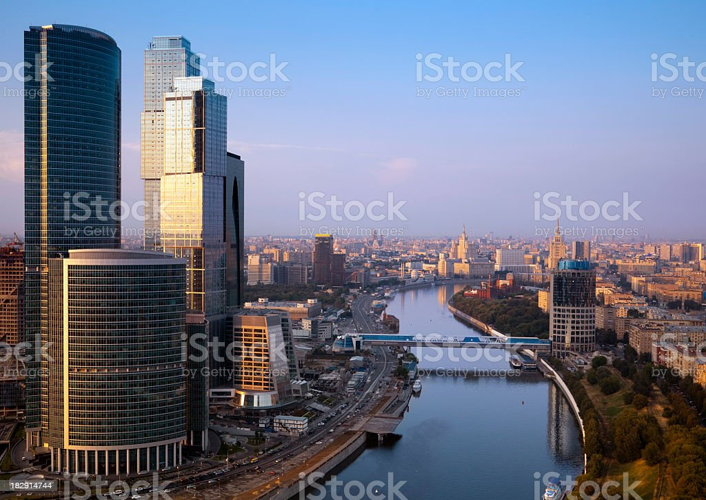 Moscow cityscape at sunset. Aerial view royalty-free stock photo