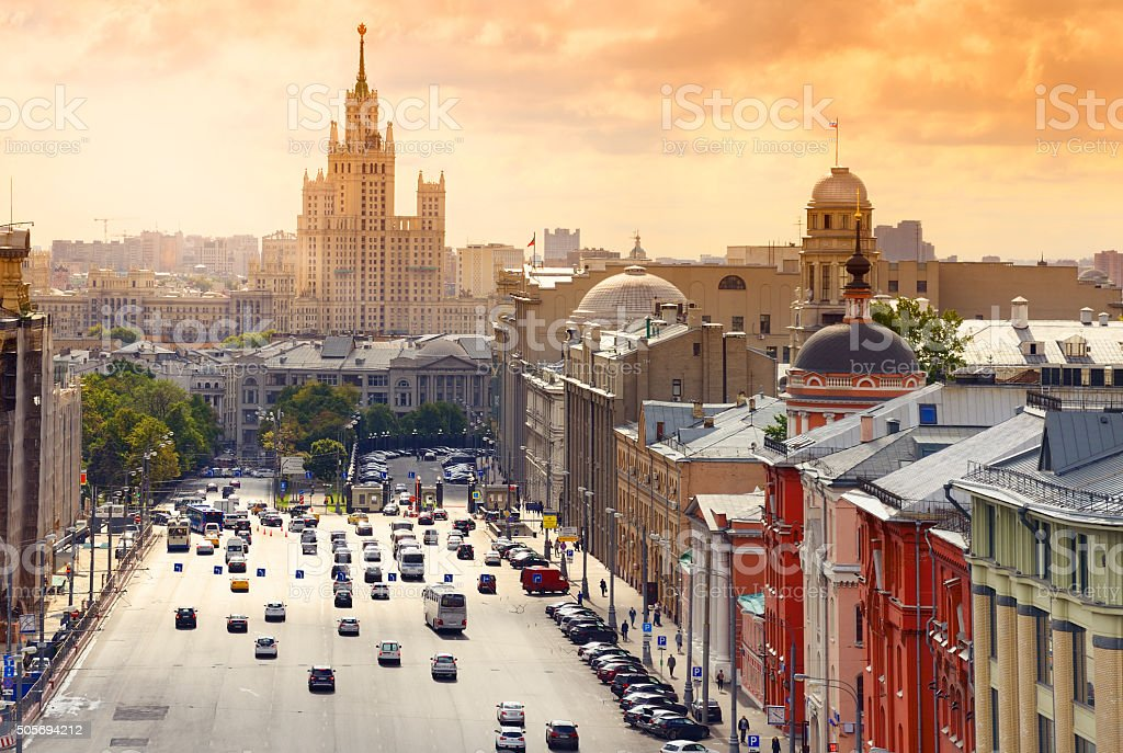 Moscow Cityscape at sunset. Aerial View. stock photo