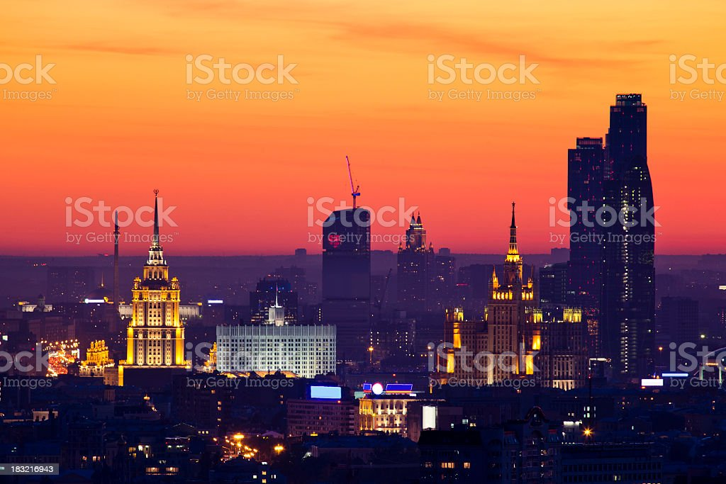 Moscow cityscape at sunset. Bird's eye view stock photo