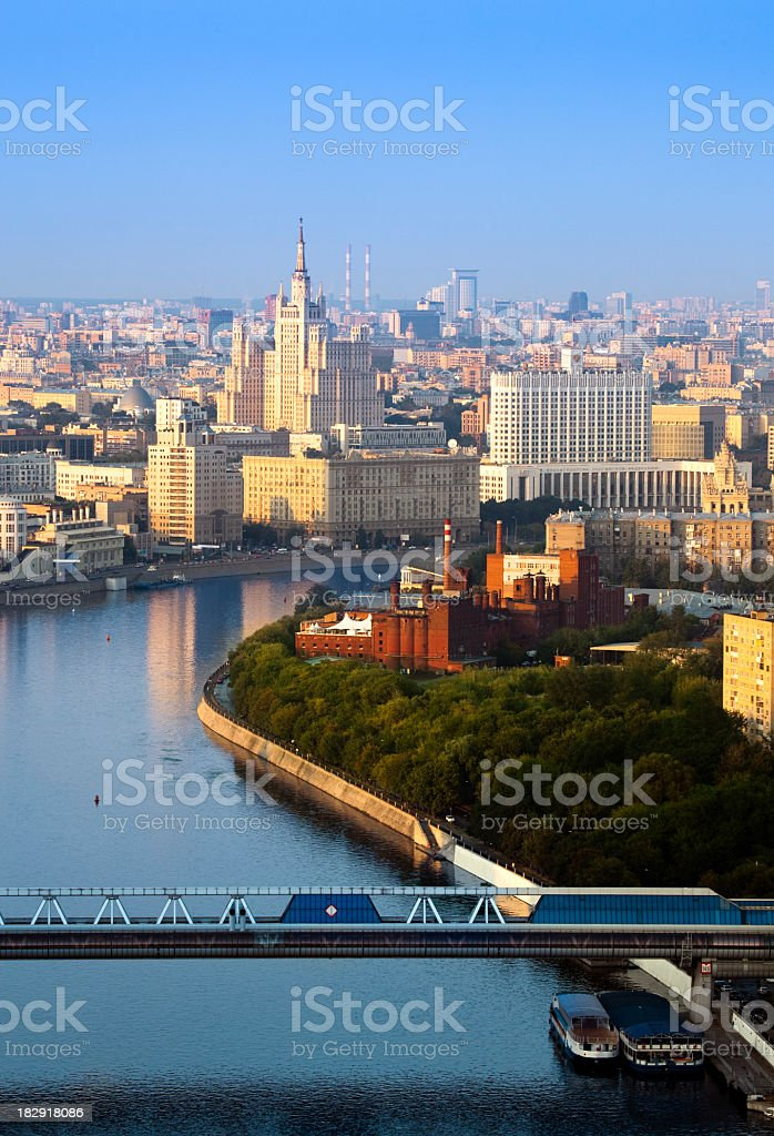 Moscow cityscape. Bird's eye view stock photo