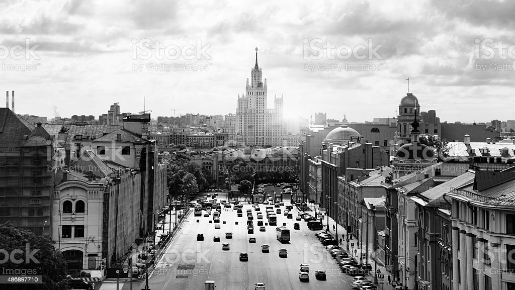 Moscow Cityscape, Black And White stock photo