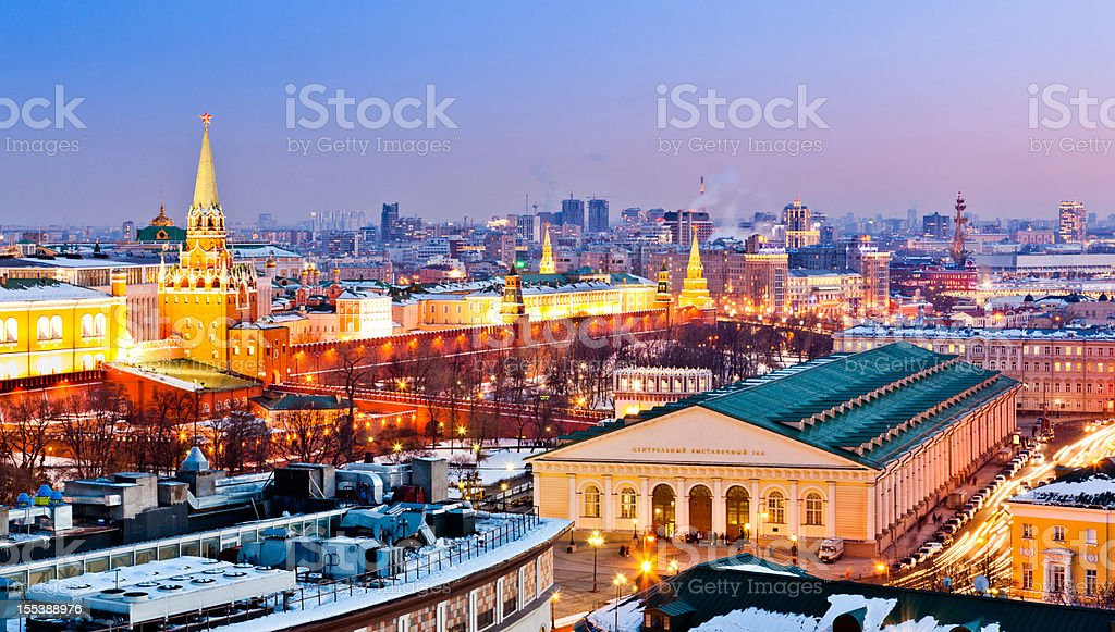 Moscow cityscape with Kremlin and Manege royalty-free stock photo