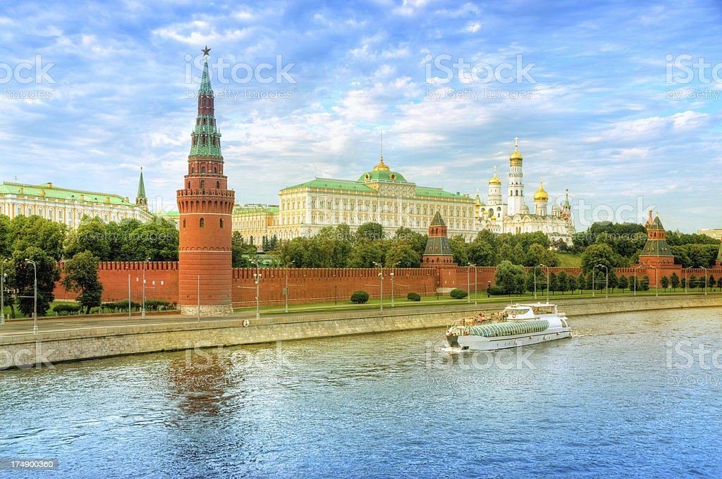Moscow Cityscape with Kremlin at Sunset stock photo