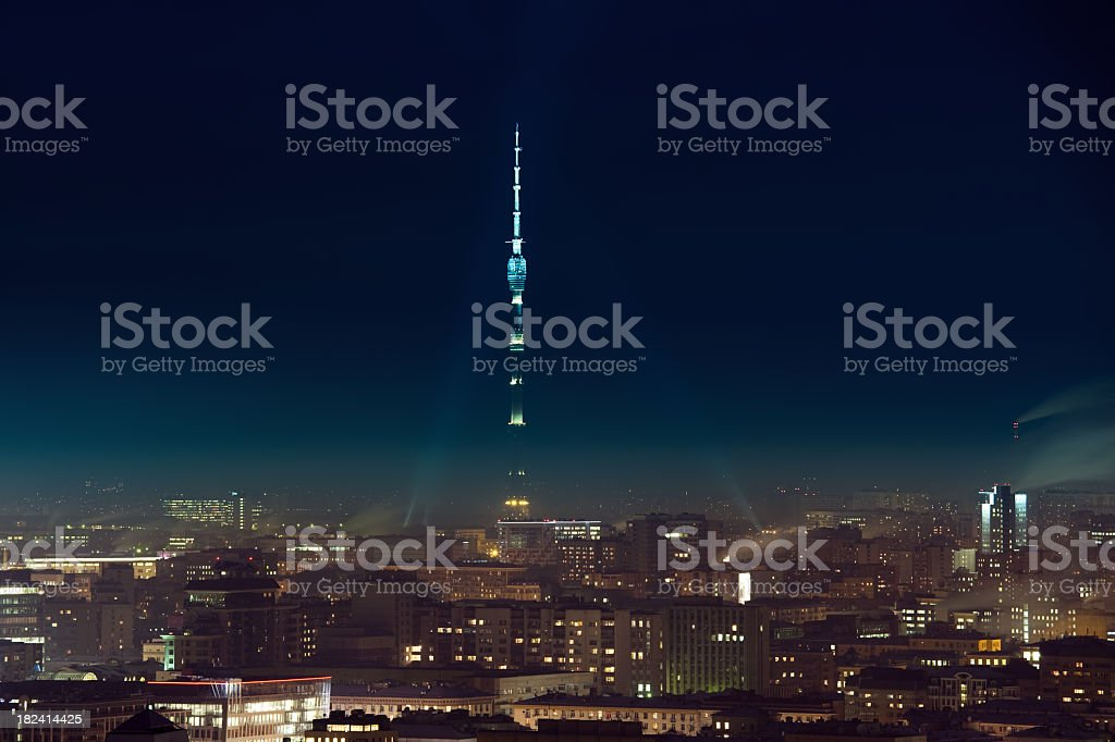 Moscow cityscape with Ostankino television tower at night royalty-free stock photo