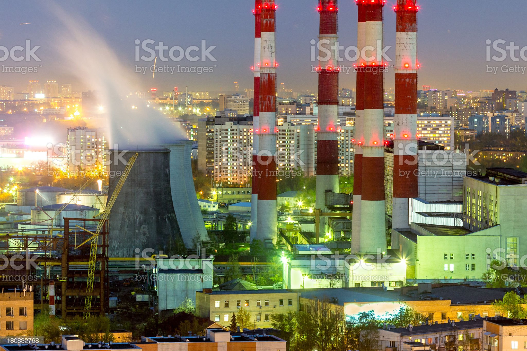 Moscow electric power plant at night royalty-free stock photo