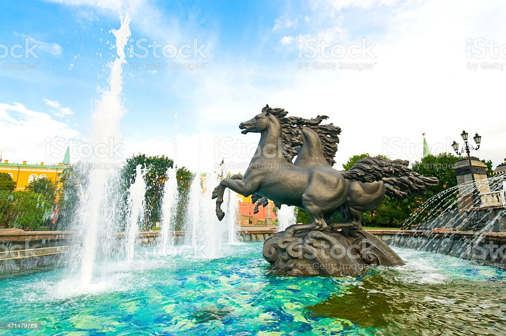 Moscow Horses Fountain on Manez Square royalty-free stock photo