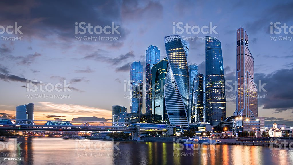 Moscow International Business Center at sunset stock photo