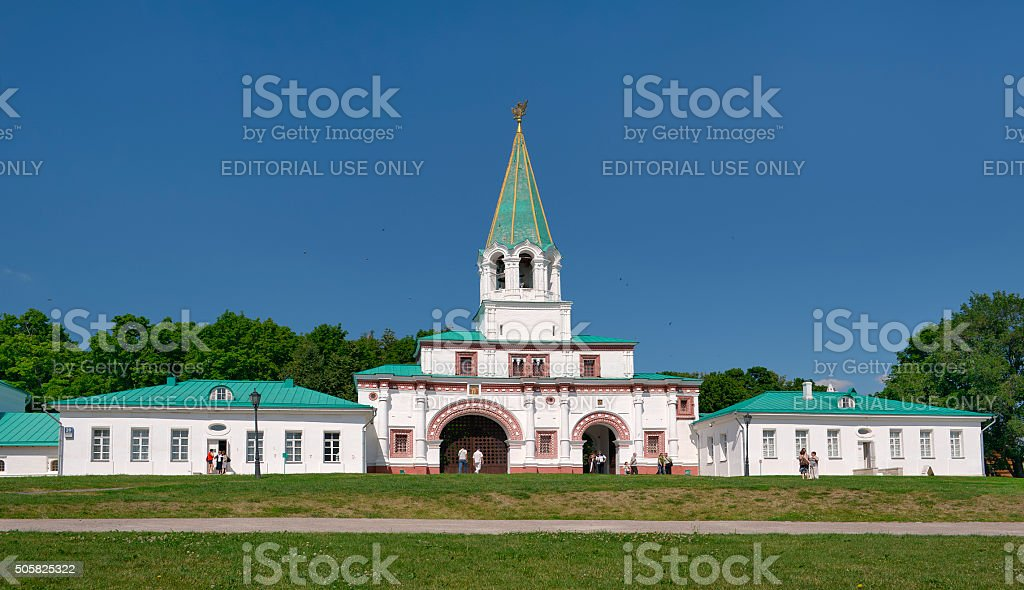 Moscow, Kolomenskoye, View of the South-eastern gate stock photo
