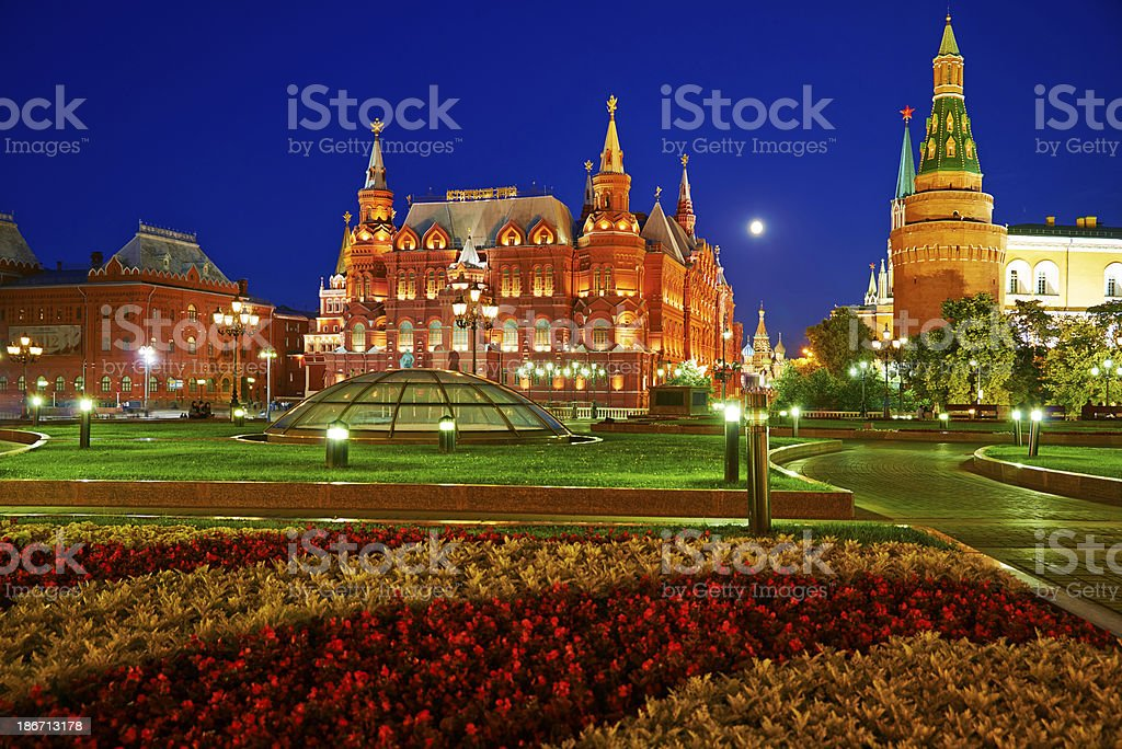 Moscow Kremlim and Historical Museum at night. royalty-free stock photo