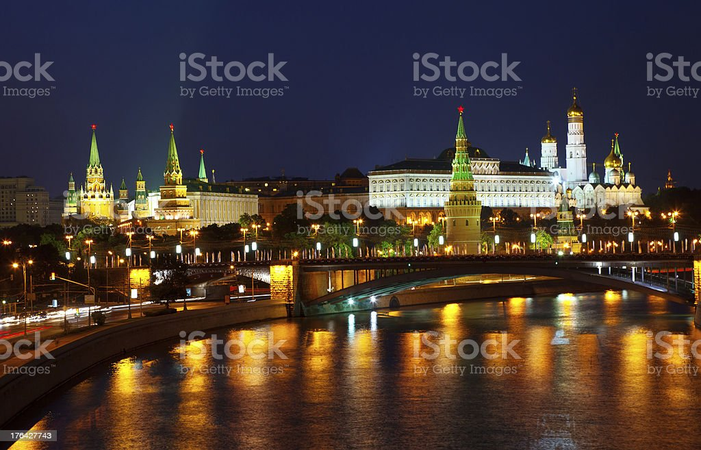 Moscow Kremlin  and   Moskva River in night. Russia stock photo
