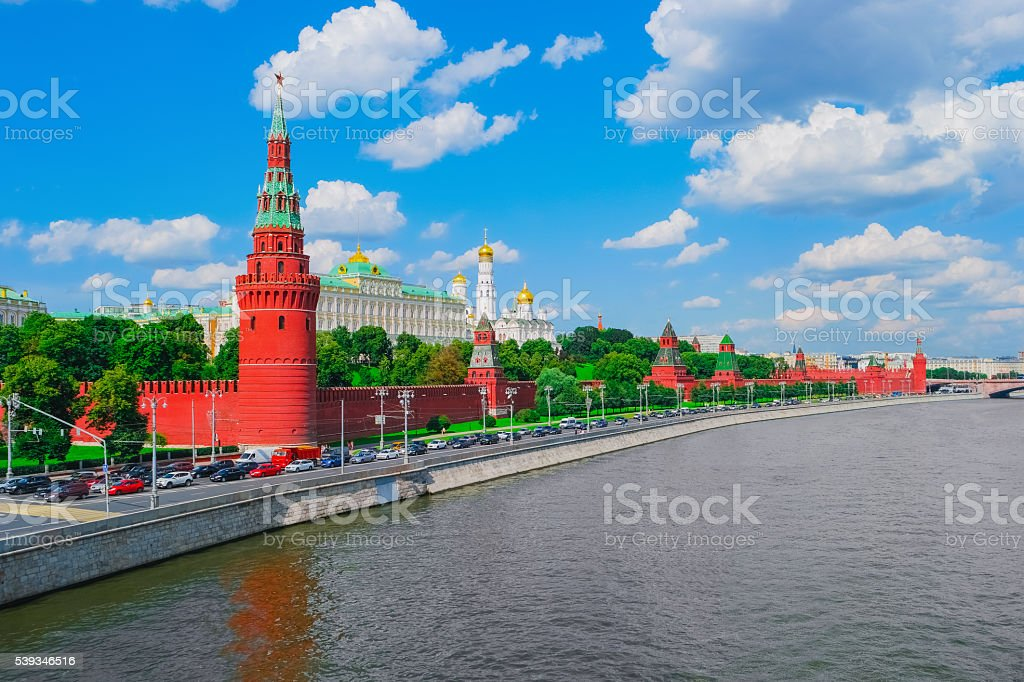 Moscow Kremlin and Moskva River in Russia stock photo