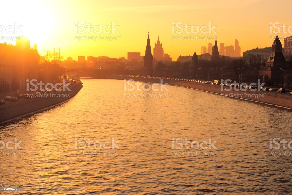 Moscow Kremlin and Moskva River in the Evening stock photo