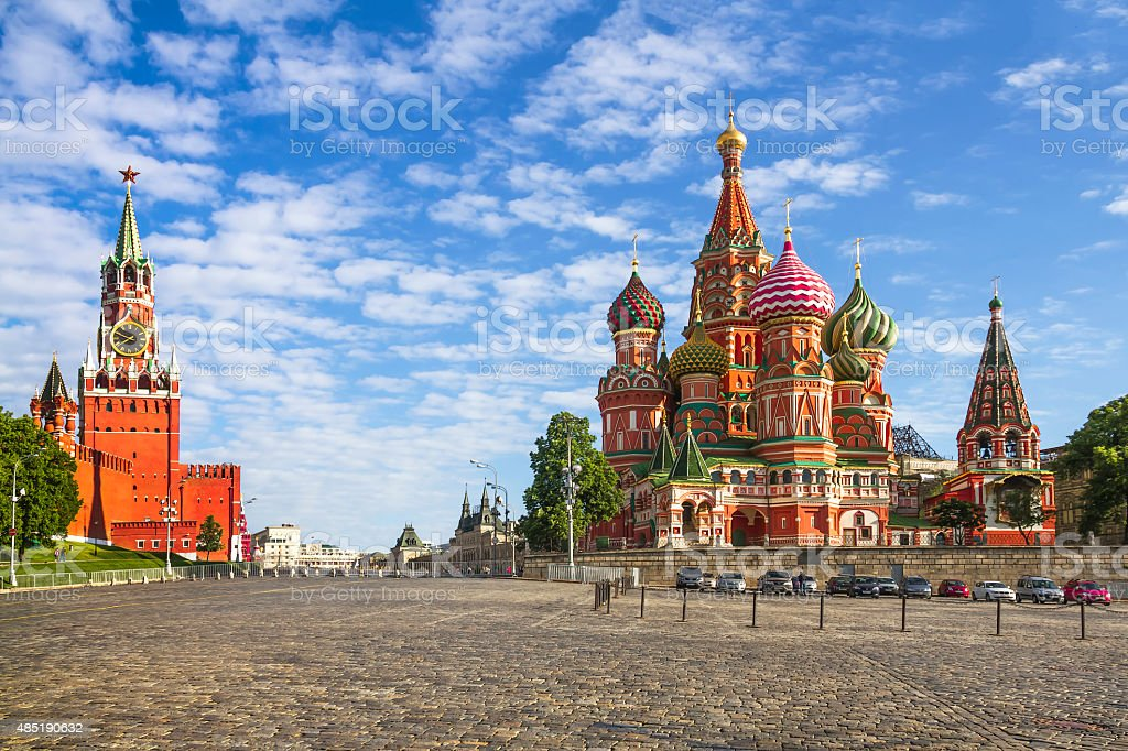 Moscow Kremlin and St. Basil Cathedral stock photo