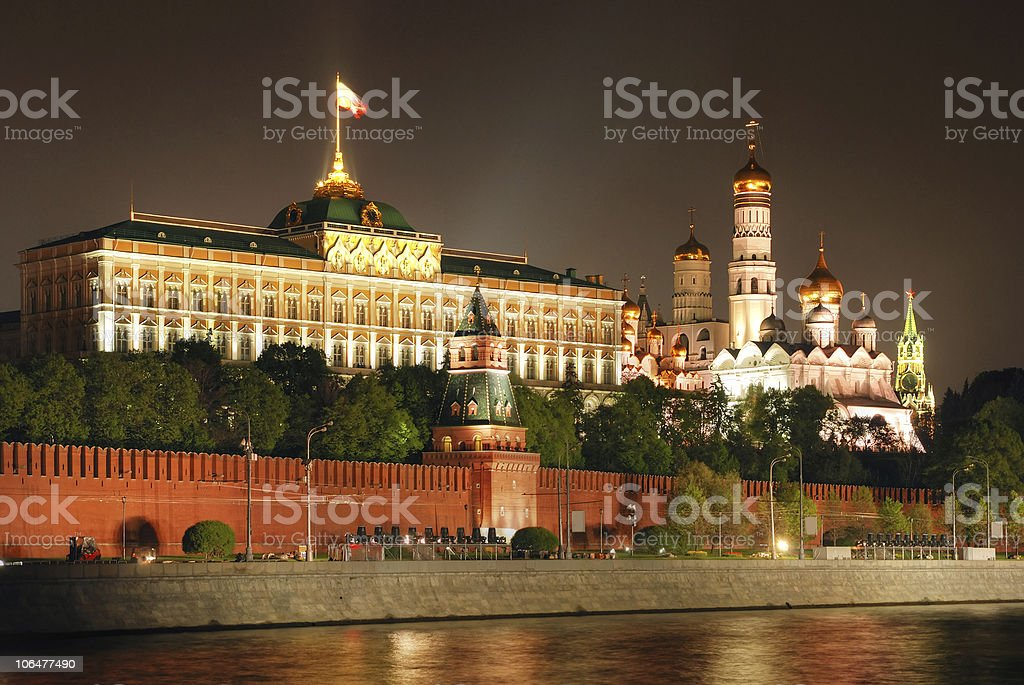 Moscow Kremlin at night on Victory Day in Russia stock photo
