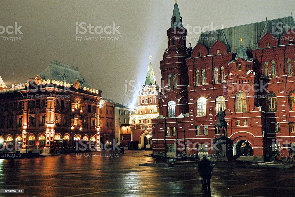 Moscow Kremlin by night stock photo
