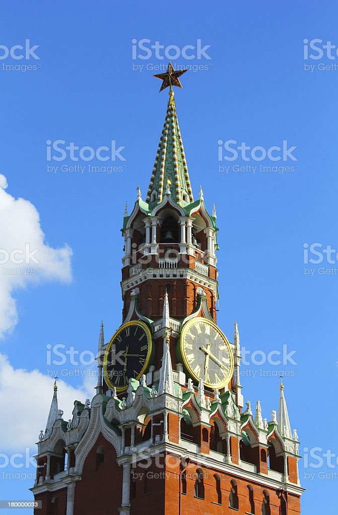Moscow Kremlin clock of the Spasskaya Tower royalty-free stock photo