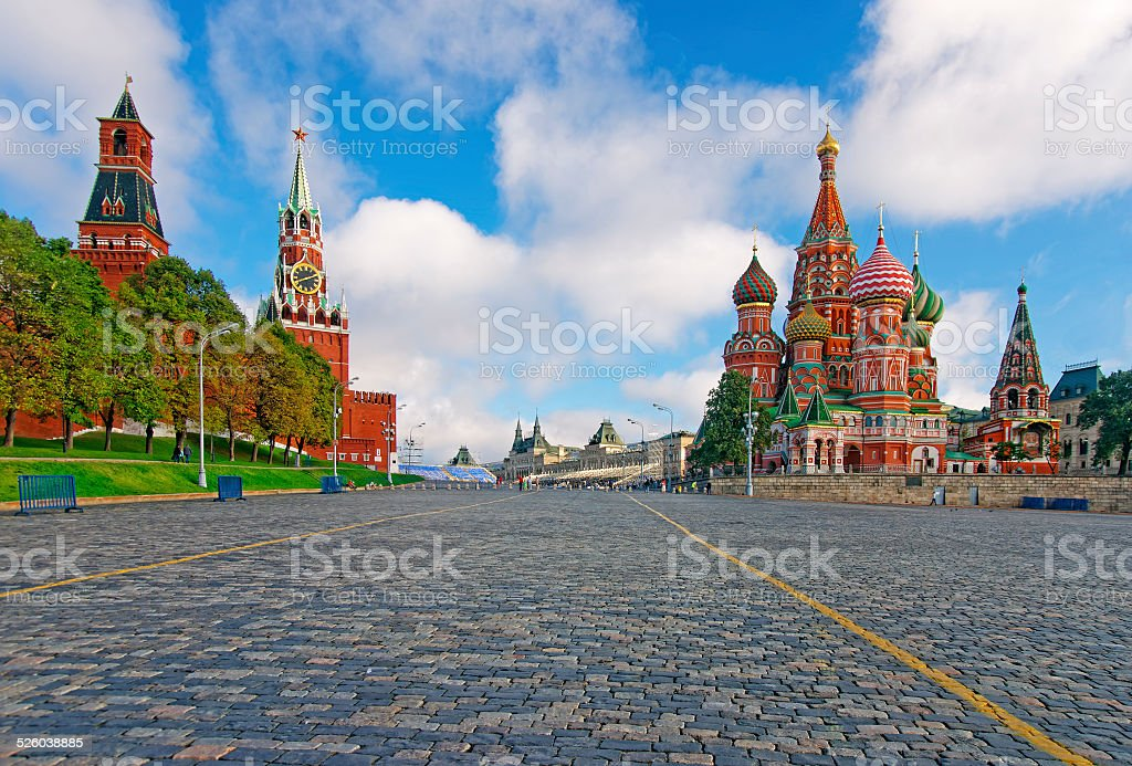 Moscow Kremlin, Red Square and Saint Basil Cathedral stock photo