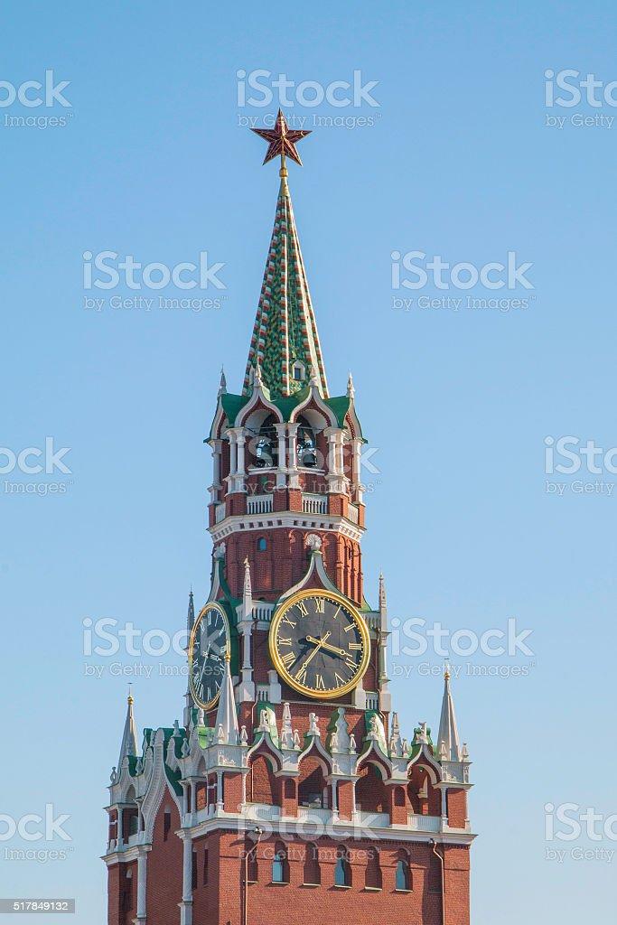 Moscow Kremlin, Spasskaya Tower, detail, sky in the background stock photo