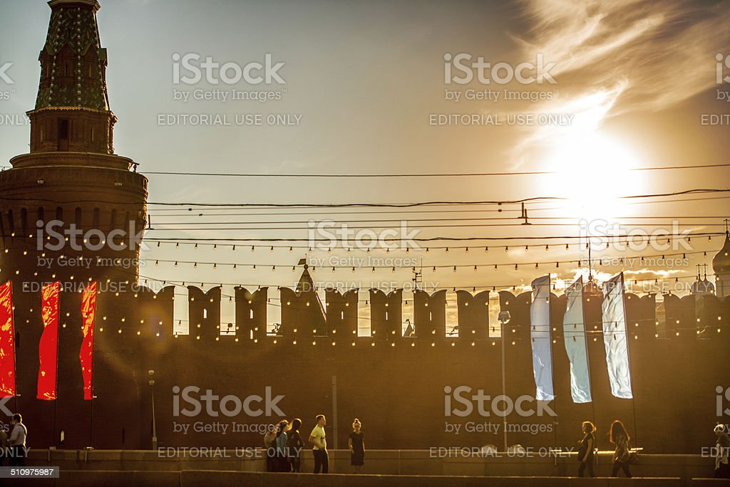 Moscow Kremlin Tower and wall in the evening stock photo