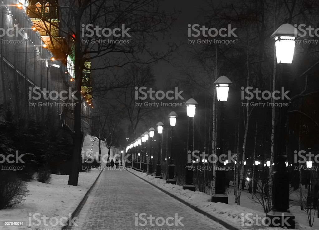 Moscow Kremlin wall and streetlights on Christmas 2017 stock photo